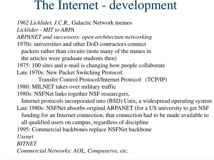 The Internet - development