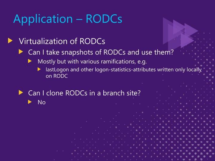 Application – RODCs