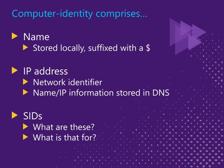 Computer-identity comprises…