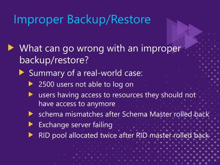Improper Backup/Restore
