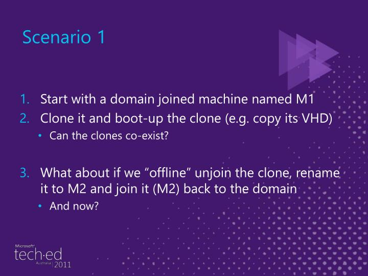 Start with a domain joined machine named M1
