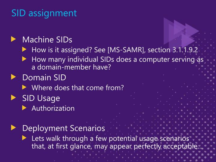 SID assignment