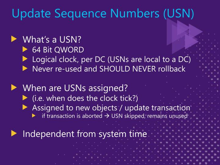 Update Sequence Numbers (USN)