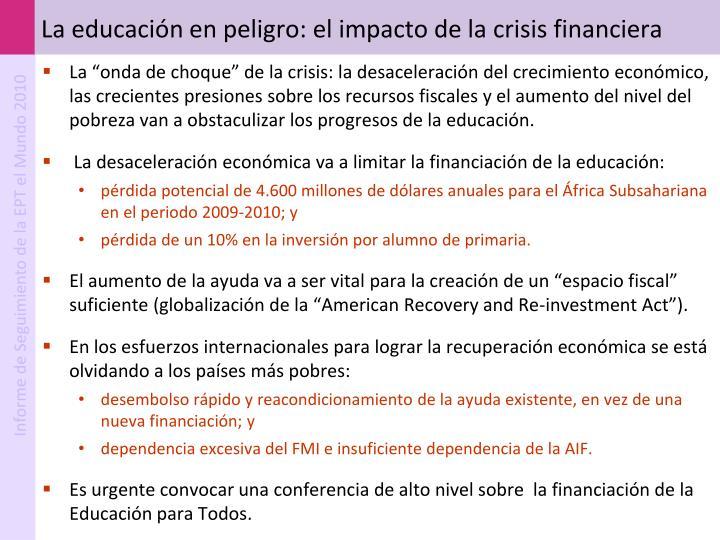 La educación en peligro: el impacto de la crisis financiera