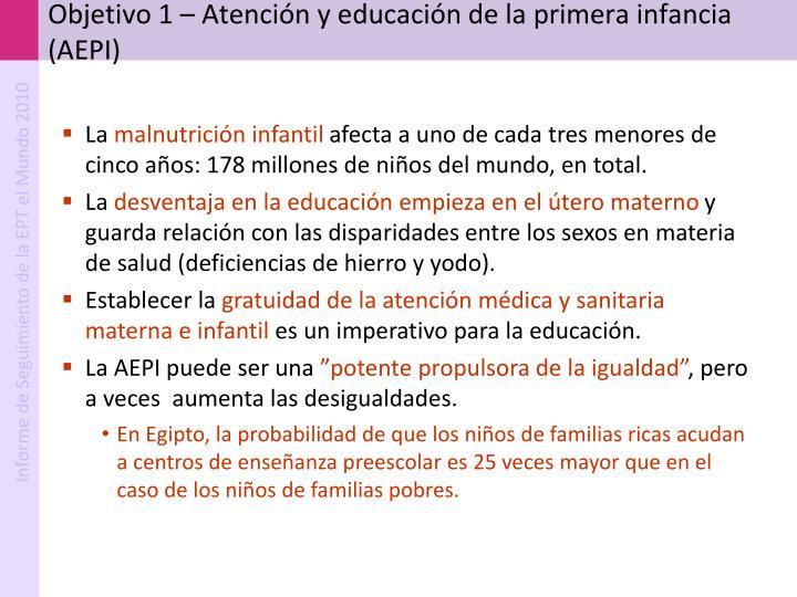 Objetivo 1 – Atención y educación de la primera infancia (AEPI)