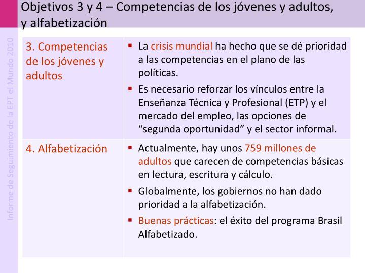 Objetivos 3 y 4 – Competencias de los jóvenes y adultos, y alfabetización