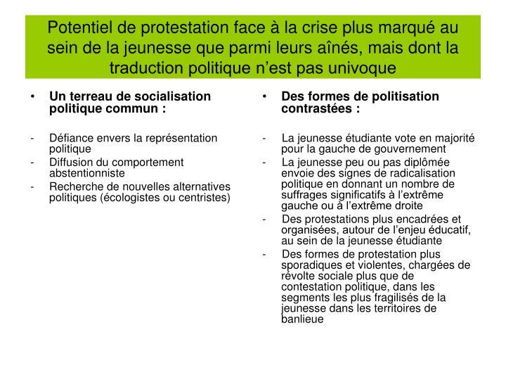 Potentiel de protestation face à la crise plus marqué au sein de la jeunesse que parmi leurs aînés, mais dont la traduction politique n'est pas univoque