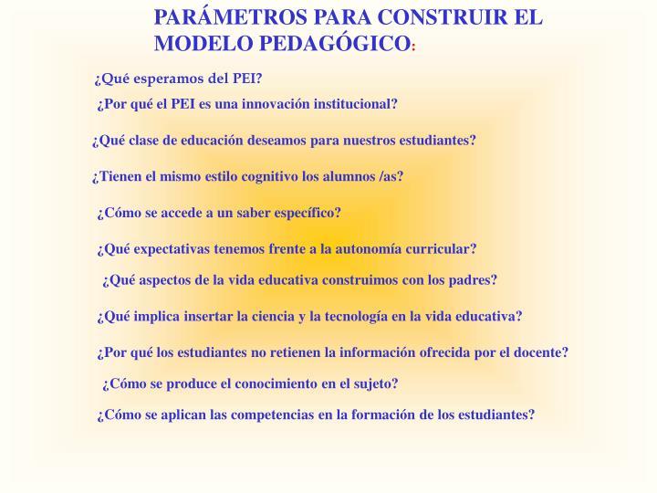 PARÁMETROS PARA CONSTRUIR EL