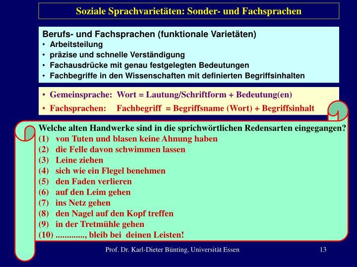 Soziale Sprachvarietäten: Sonder- und Fachsprachen