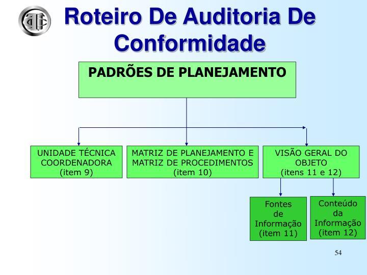 Roteiro De Auditoria De Conformidade