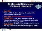 cms expands icd coverage icd registry mandated1