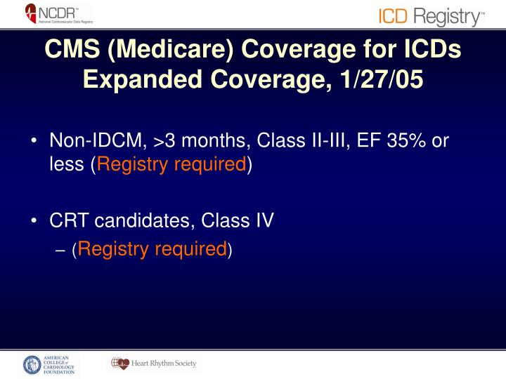 CMS (Medicare) Coverage for ICDs