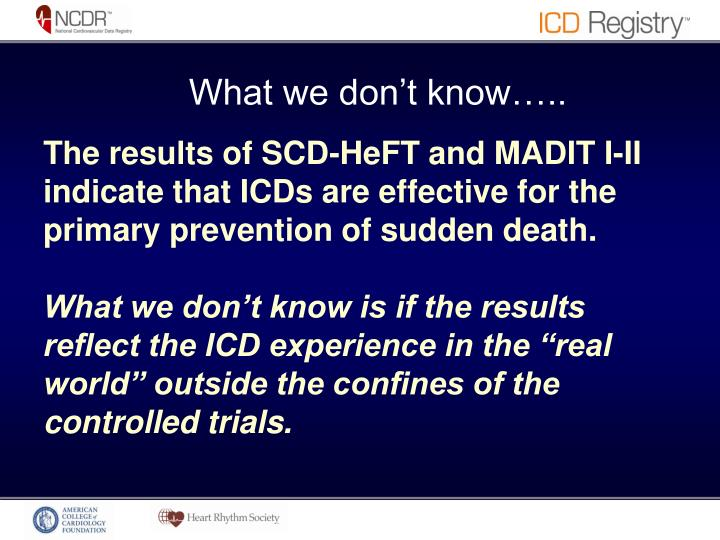 The results of SCD-HeFT and MADIT I-II indicate that ICDs are effective for the primary prevention of sudden death.