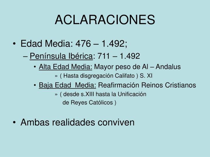 ACLARACIONES