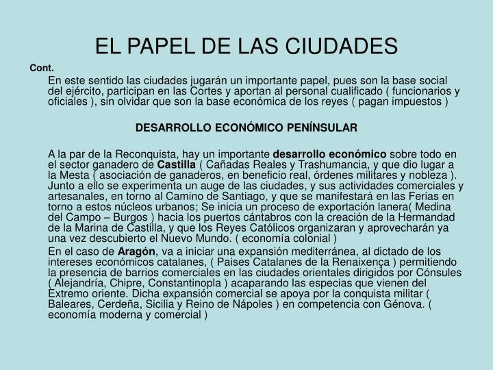 EL PAPEL DE LAS CIUDADES