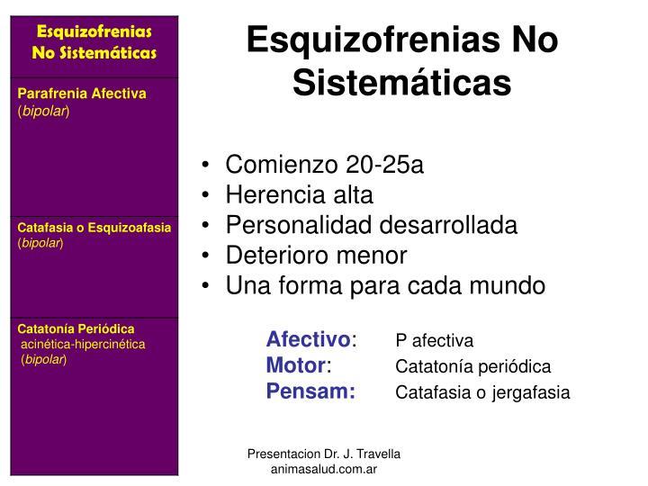 Esquizofrenias No Sistemáticas