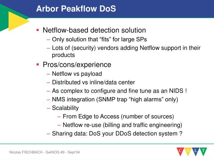 Arbor Peakflow DoS