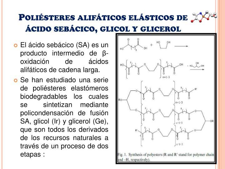 Poliésteres alifáticos elásticos de ácido sebácico, glicol y glicerol