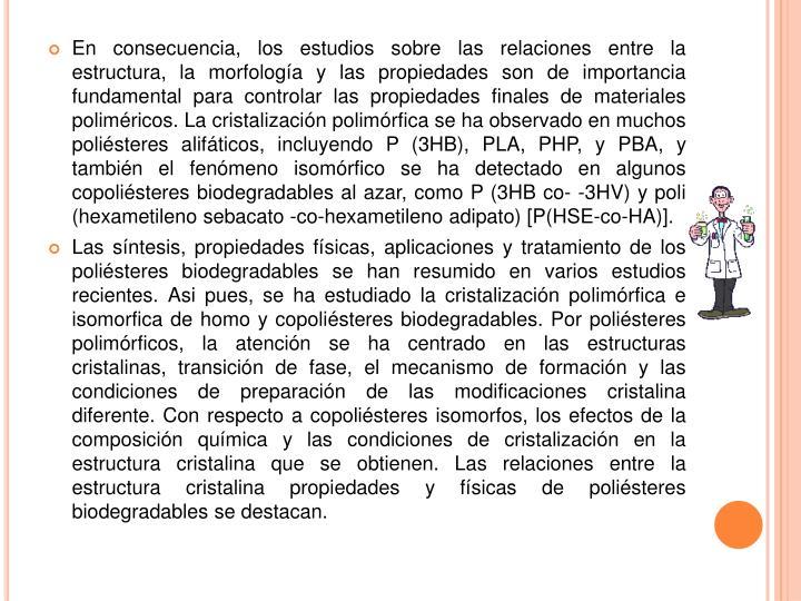 En consecuencia, los estudios sobre las relaciones entre la estructura, la morfología y las propiedades son de importancia fundamental para controlar las propiedades finales de materiales poliméricos.La cristalización polimórfica se ha observado en muchos poliésteres alifáticos, incluyendo P (3HB), PLA, PHP, y PBA, y también el fenómeno isomórfico se ha detectado en algunos copoliésteres biodegradables al azar, como P (3HB co--3HV) y poli (hexametileno sebacato -co-hexametileno adipato) [P(HSE-co-HA)].