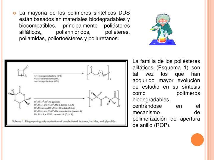 La mayoría de los polímeros sintéticos DDS están basados en materiales biodegradables y biocompatibles, principalmente poliésteres alifáticos, polianhidridos, poliéteres, poliamidas, poliortoésteres y poliuretanos.