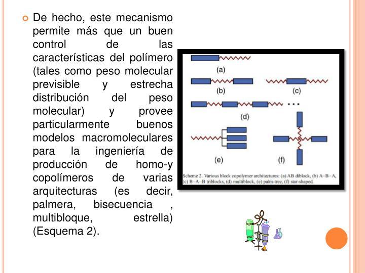 De hecho, este mecanismo permite más que un buen control de las características del polímero (tales como peso molecular previsible y estrecha distribución del peso molecular) y provee particularmente buenos modelos macromoleculares para la ingeniería de producción de homo-y copolímeros de varias arquitecturas (es decir, palmera, bisecuencia, multibloque, estrella) (Esquema 2).