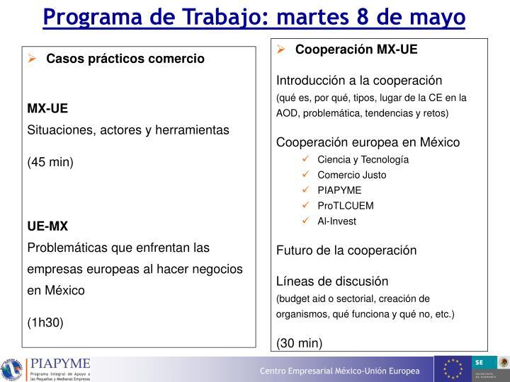 Programa de Trabajo: martes 8 de mayo