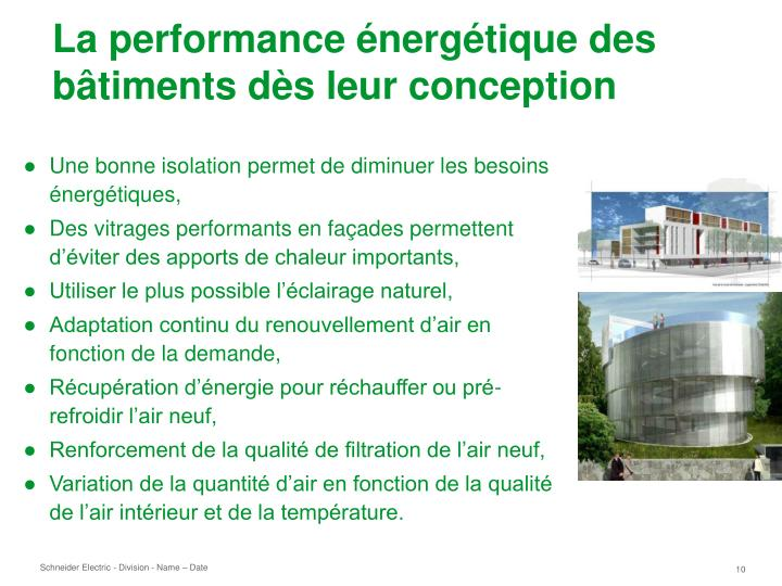La performance énergétique des bâtiments dès leur conception