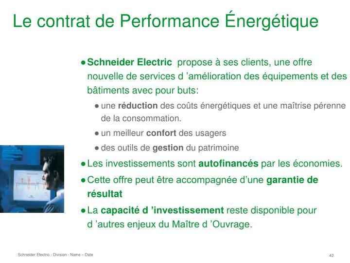 Le contrat de Performance Énergétique