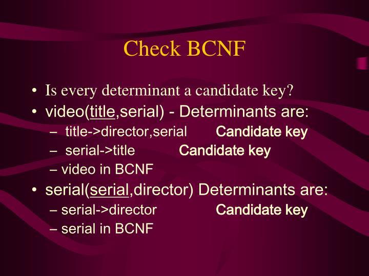 Check BCNF