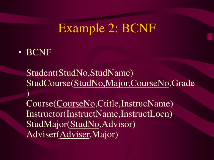 Example 2: BCNF