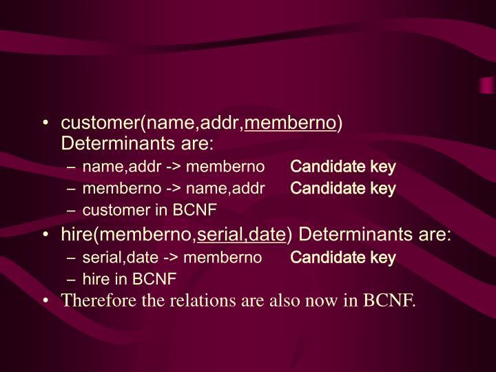 customer(name,addr,