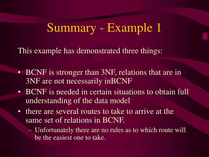 Summary - Example 1