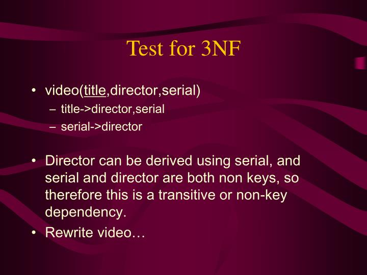 Test for 3NF