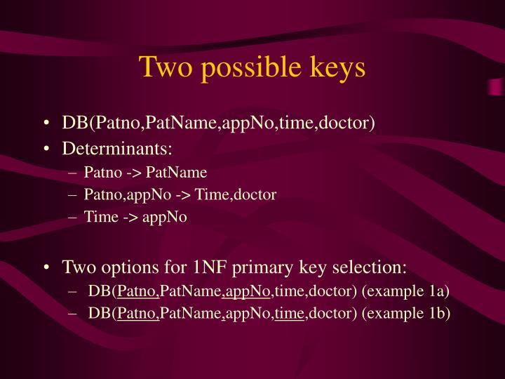 Two possible keys