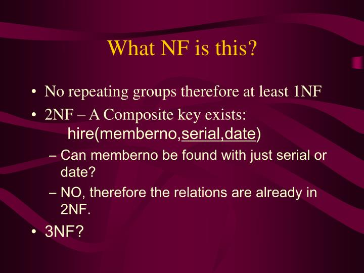 What NF is this?