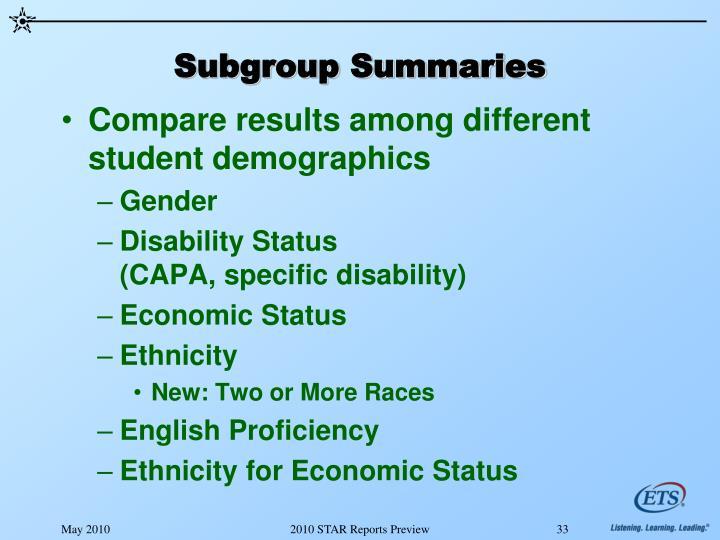 Subgroup Summaries