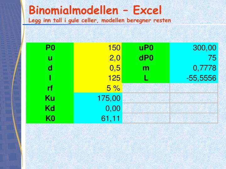Binomialmodellen – Excel