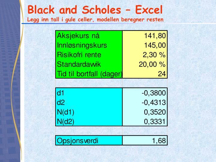 Black and Scholes – Excel