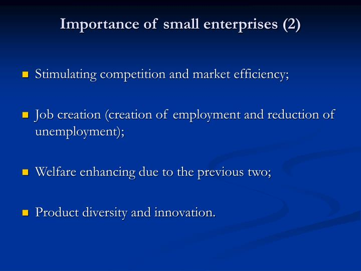 Importance of small enterprises (2)