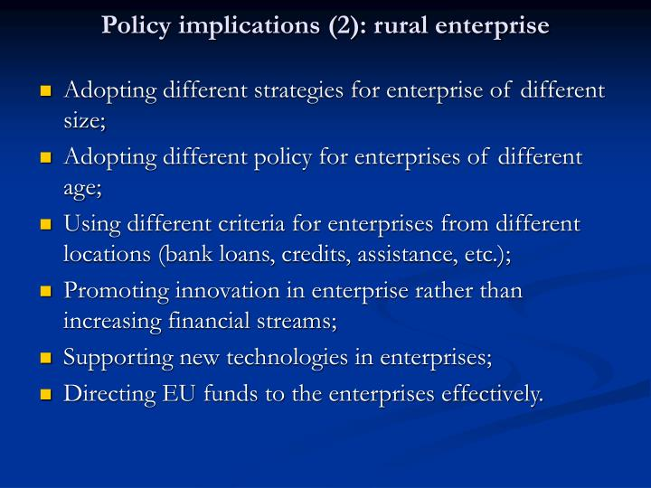 Policy implications (2): rural enterprise