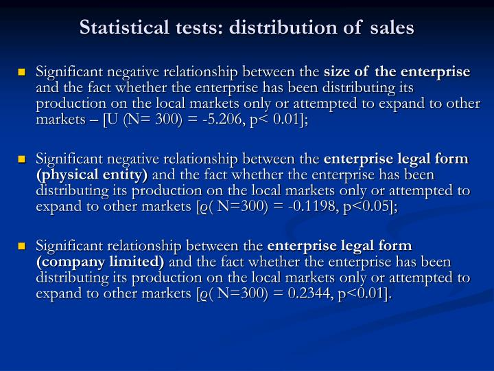 Statistical tests: distribution of sales