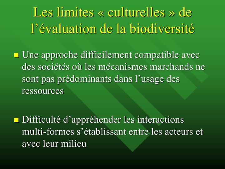 Les limites «culturelles» de l'évaluation de la biodiversité