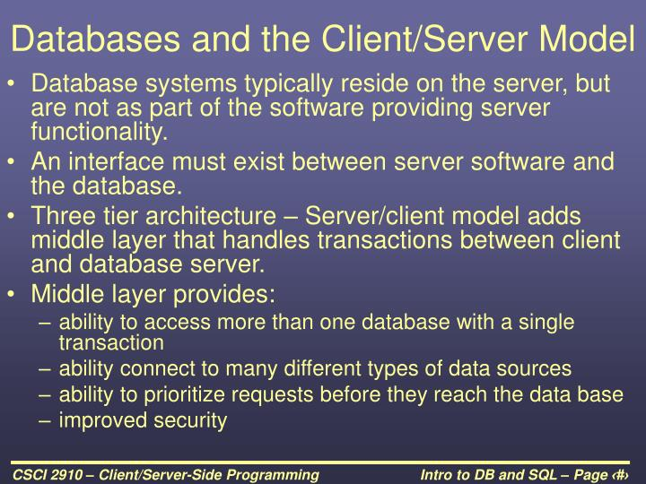 Databases and the Client/Server Model