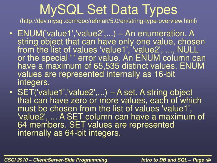MySQL Set Data Types