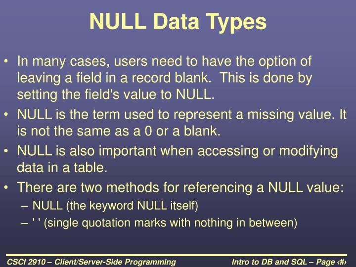 NULL Data Types