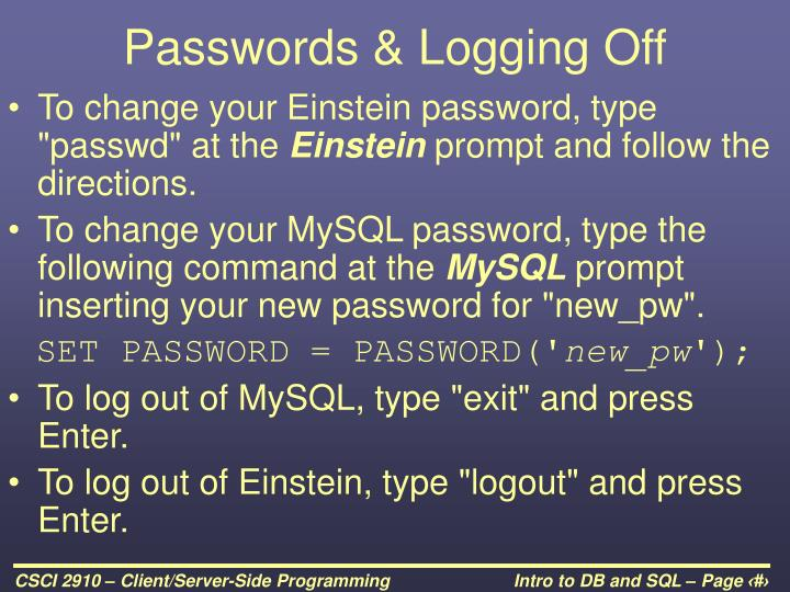 Passwords & Logging Off
