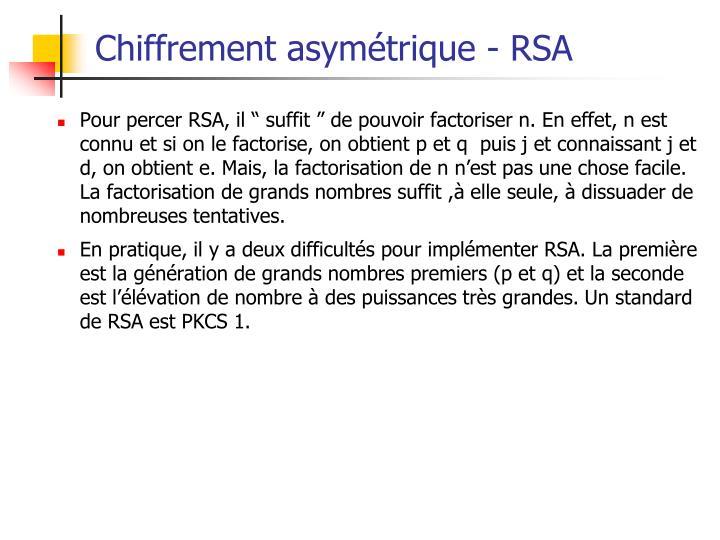 Chiffrement asymétrique - RSA