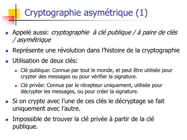 Cryptographie asymétrique (1)
