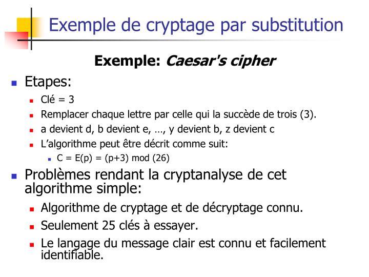 Exemple de cryptage par substitution
