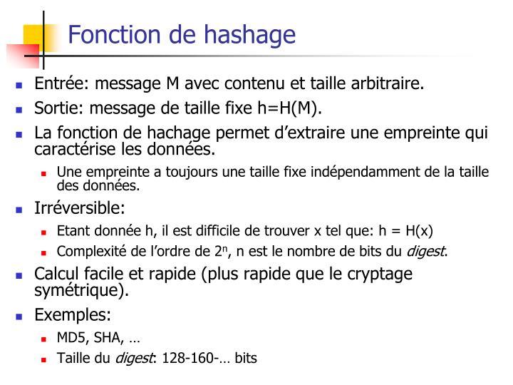 Fonction de hashage